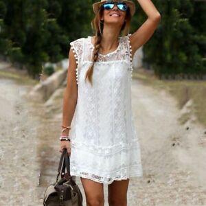 del-verano-Negro-Blanco-Vestido-de-encaje-Mini-corto-vestidos-Sin-mangas