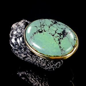 Vintage-Natural-Turquoise-925-Sterling-Silver-Ring-Size-7-5-R101339