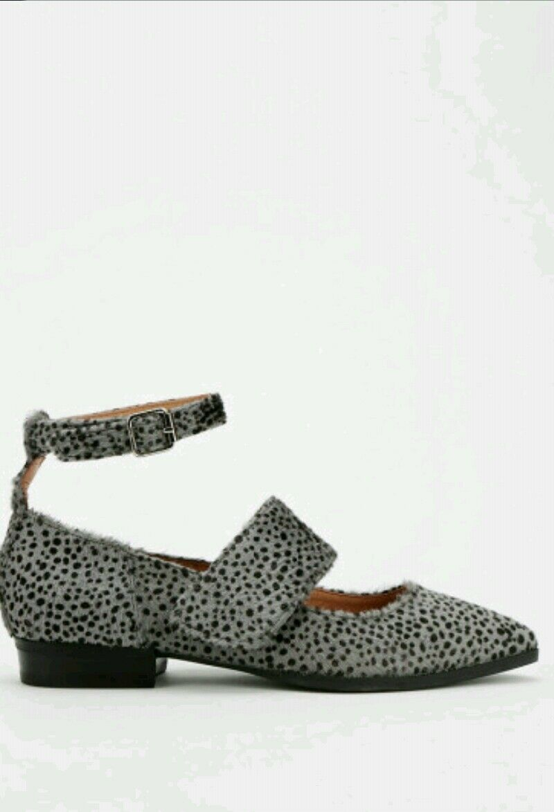Jeffrey Campbell Mary Jane Flats Walsh Animal Print Grau Calf Hair Leder 6.5