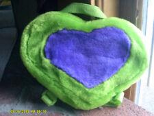Green Plush Heart Shaped Child Coin Purse Backpack Purple Heart 10x6 (tm)