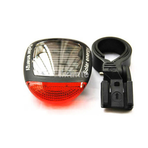 2 LED Red Bike Bicycle Solar Energy Rechargeable Tail Rear Light Flash Light CA