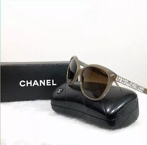 e084ae16e96 Image is loading RARE-CHANEL-Genuine-Taupe-Silver-Swarovski-Crystal- Sunglasses-
