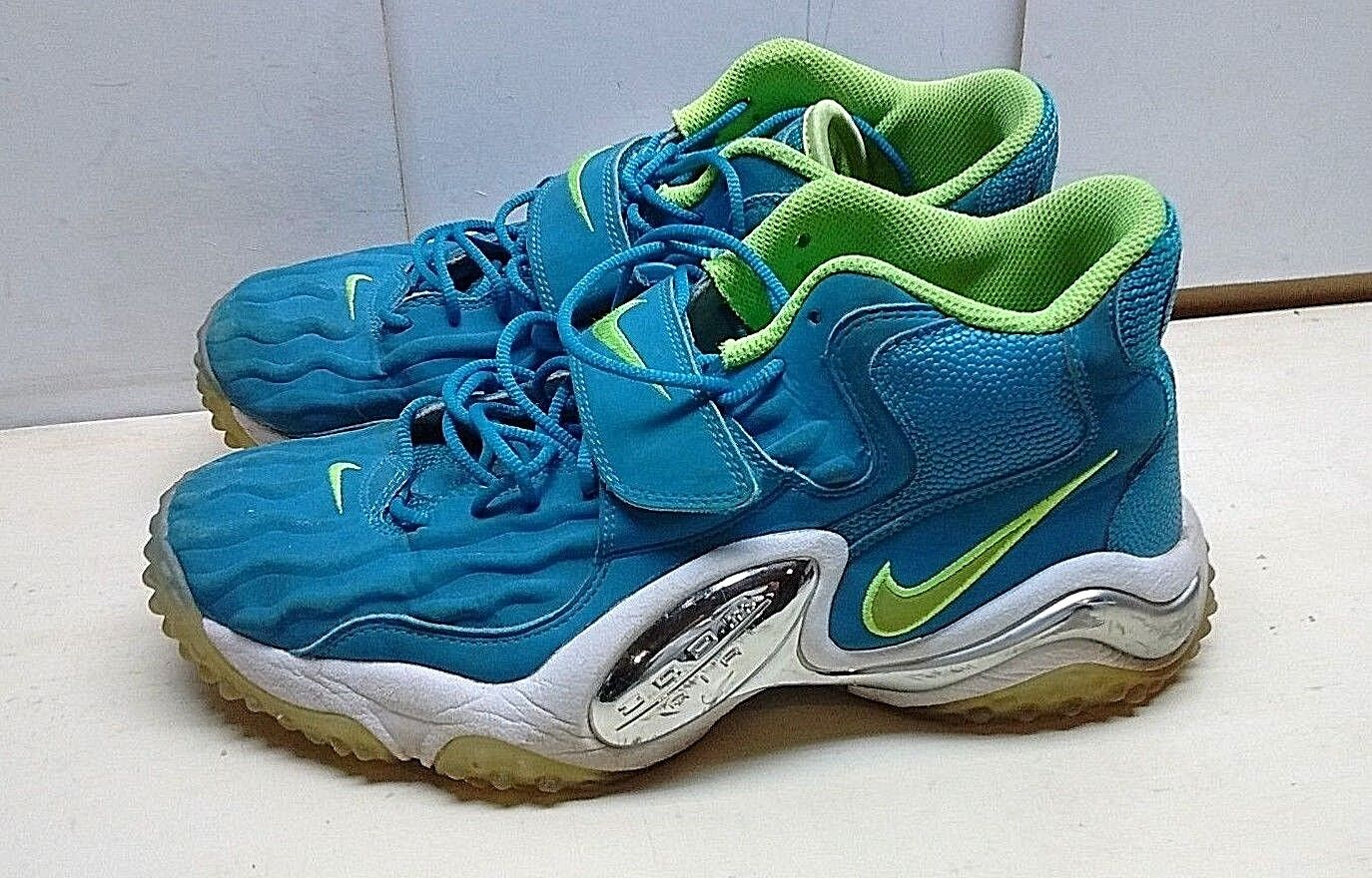 Nike Zoom Air Men Blue Green Synthetic Basket Sport Lace High Top Shoe Size 10 M