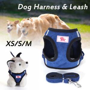 Verstellbar-Reflektierend-Haustier-Hundegeschirr-Leine-Hund-Katze-Top-Kragen-Set