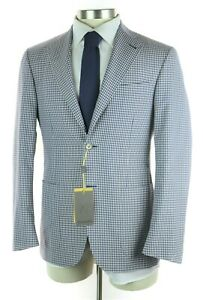1795-CANALI-1934-Kei-Travel-White-Blue-Check-Wool-Silk-Coat-Jacket-38-Fits-40-R
