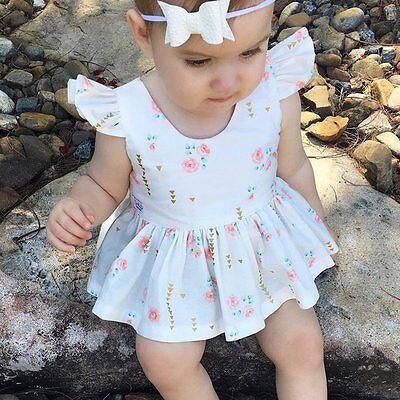 Toddler Infant Kids Baby Girls Summer Dress Princess Party Cotton Tutu Dresses
