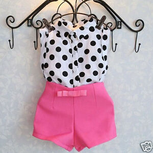 Kids-Girls-Dot-T-shirt-Blouse-Tops-Pink-Bowknot-Hot-Pants-Shorts-Clothes-Outfits