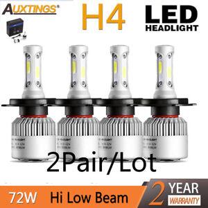 4PCS H4 HB2 9003 led 72W 16000LM S2 Headlight Car Hi/Lo Beam Auto Bulbs 6000K