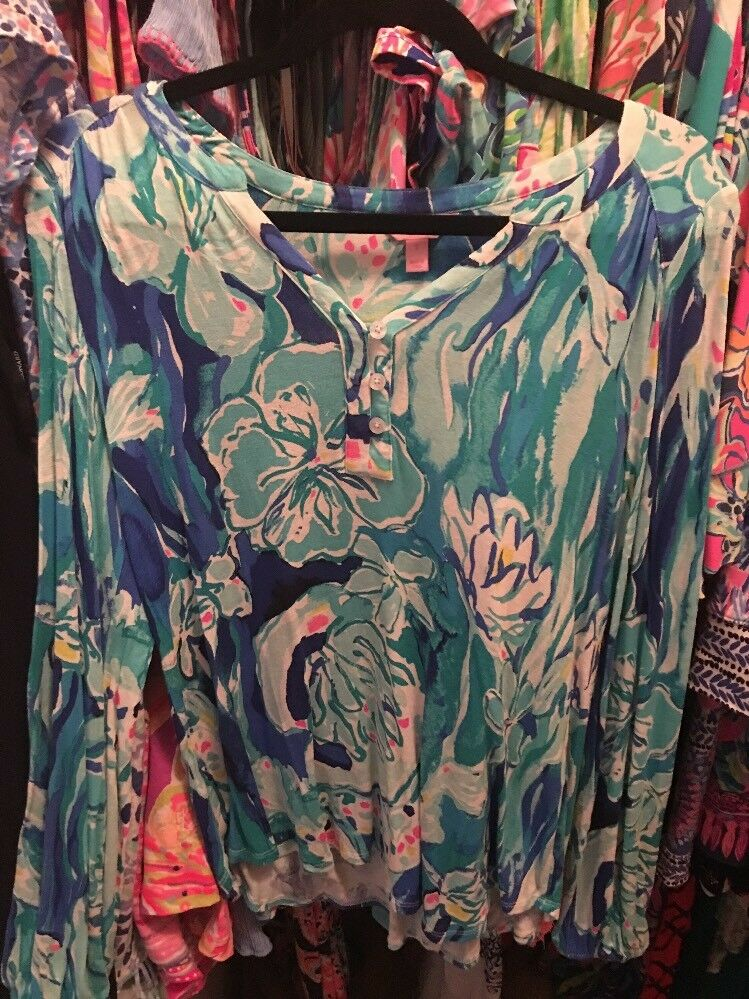 Lilly Pulitzer Elsa Top in Brilliant Blau Aquatic Garden retail  Small