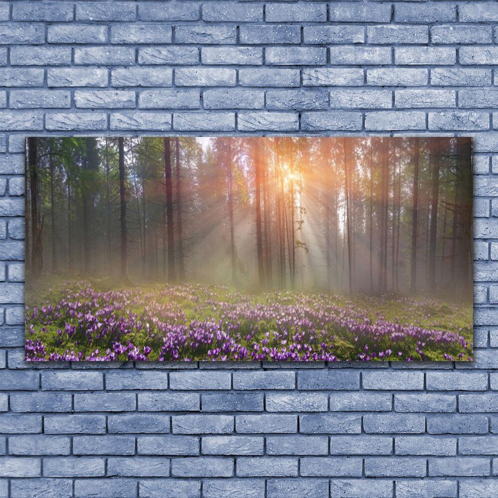 Glas Drucken Wand Kunst 140x70 Image Bild Forest Flowers Nature