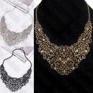 Charm-Women-Chain-Statement-Collar-Bib-Pendant-Chunky-Crystal-Necklace-Jewelry