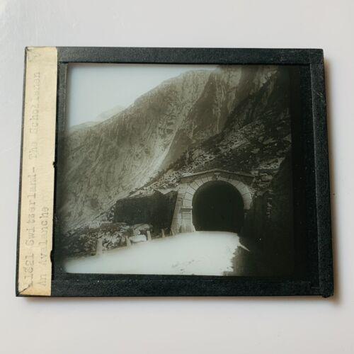 Vtg Magic Lantern Glass Slide Photo Schollenen Mountain Tunnel Switzerland