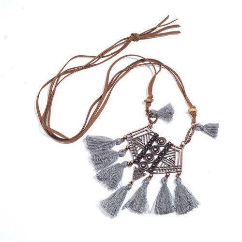 Vintage Ethnic Long Tassel Pendant Necklace Hippie Jewelry Women Rustic bronze
