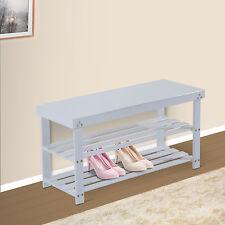 Wooden Shoe Bench Storage Seat 2 Shelves Rack Organizer Entryway Furniture White