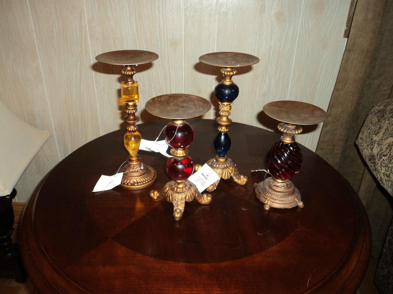 Antique Gold Cast Iron Polyresin Pillars - Set of 4