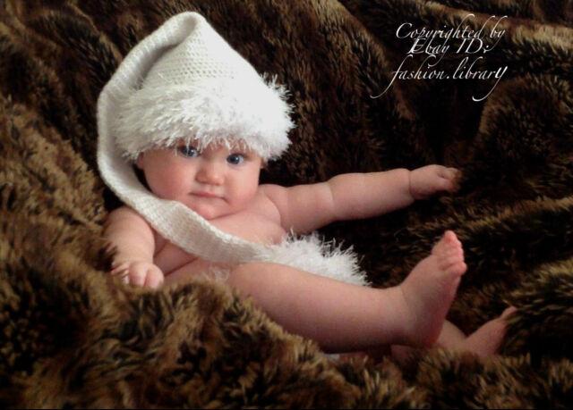 NWOT 0-6  0-3  months Elf Hat white Long Tail Baby Girl Boy Photo Prop handmade