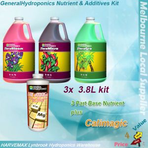 Details about General Hydroponics Flora Grow Bloom Micro 3 79L Pack +  Calimagic Nutrient Kit