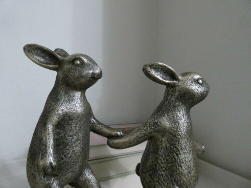 Resin Walking Rabbits Ornament Sculpture Bronze Colour Finisned