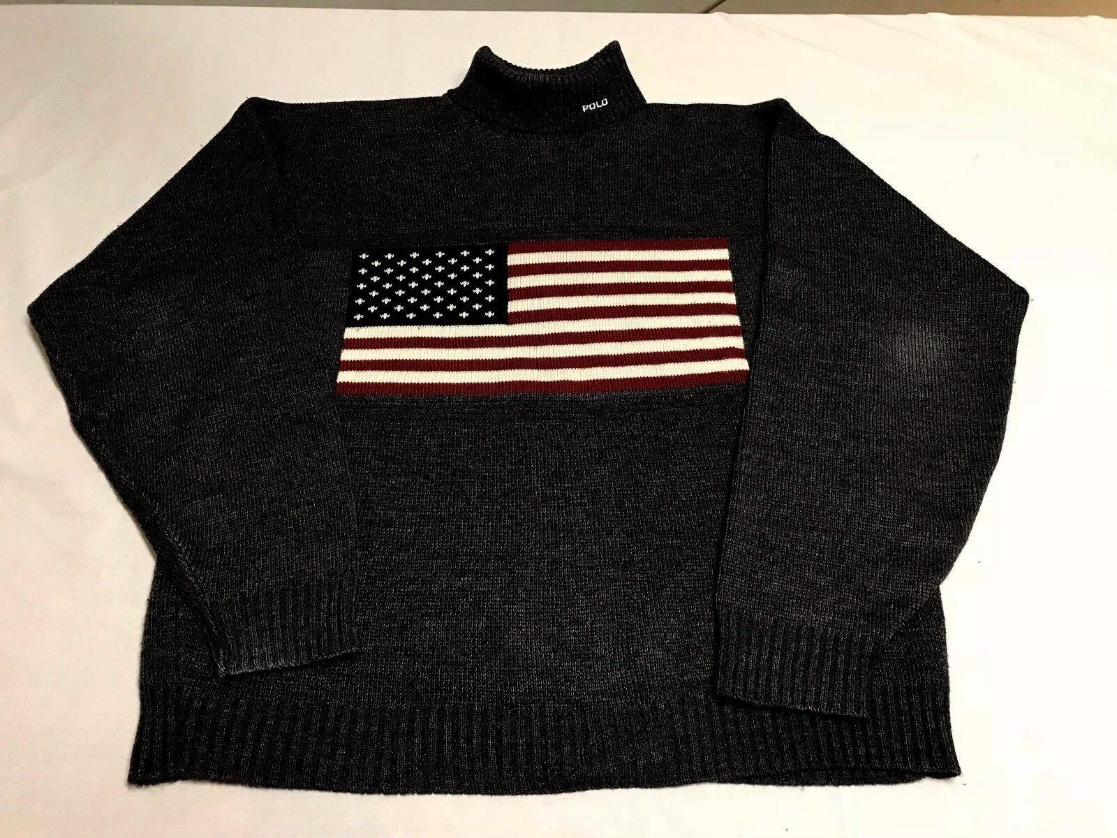 1993 Ralph Lauren Polo Flag herren XL Navy Blau Turtleneck schweißer Vintage Rare