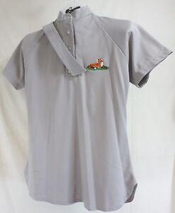 Reed Hill Riding Sport Shirt Grey Mandarin Collar and choker, Fox embroidery 12