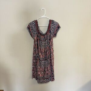 Lucky Brand Dress Size L Short Casual Boho Off The Shoulder Summer Beach Floral