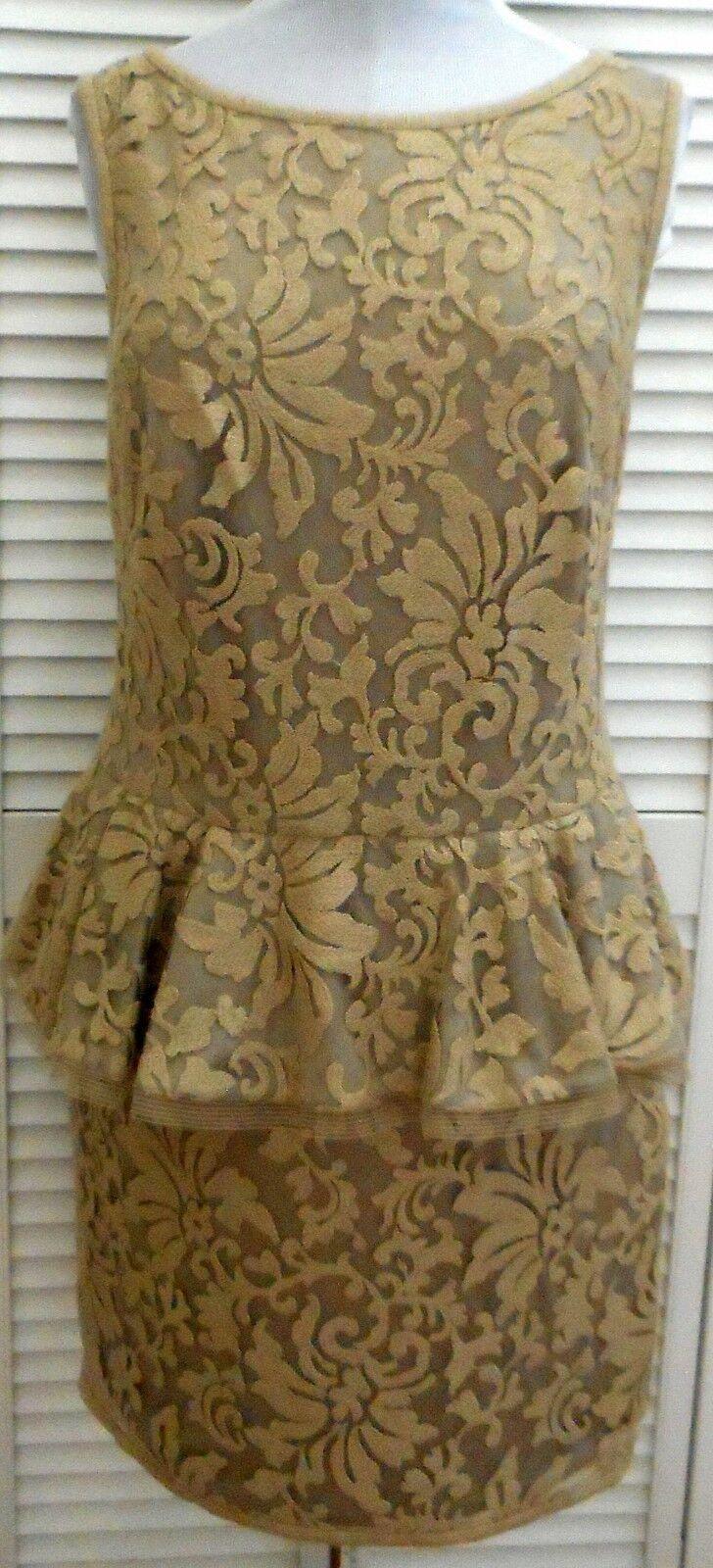 TADASHI SHOJI Dress size 14 Large Tan EMBROIDERED Peplum Sleeveless Women's