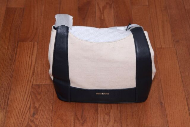 8e02ecb1daf752 NWT Michael Kors Marlon Large Canvas Shoulder Tote Bag Purse Natural/Admiral