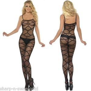a37738e1fc5 Image is loading Ladies-Sexy-Black-Criss-Cross-Crotchless-Sheer-Bodystocking -
