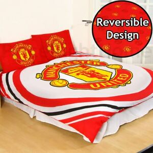 Manchester-United-FC-Impulsion-Double-Housse-de-Couette-et-Taie-Set-Rouge-Lit