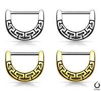 Pair Maze Tribal Fan Design Nipple Clickers Shields Rings Body Jewelry