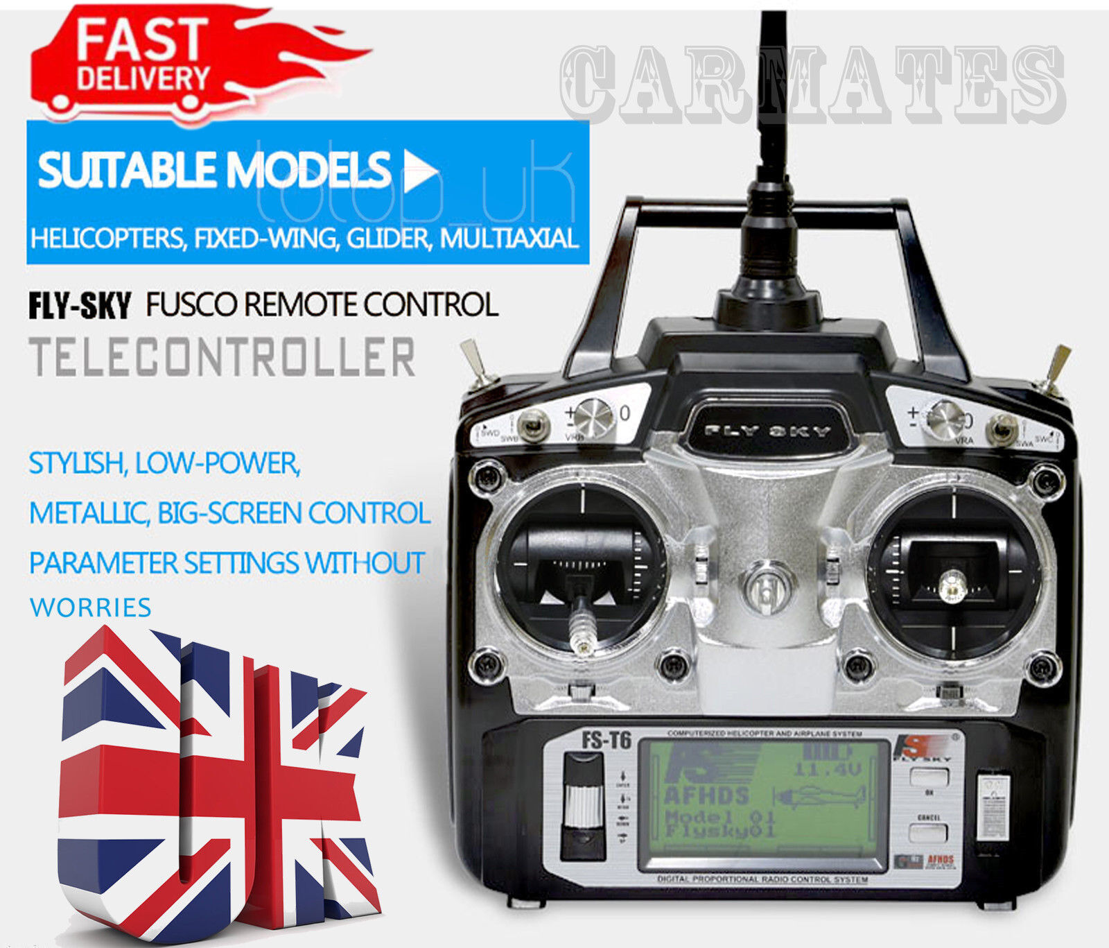 FLYSKY RC helicopter transmitter TX + RX comb FS-T6 6ch plane 20memory Mode 2 UK
