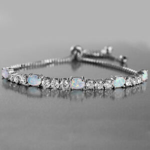 White-Gold-Plated-OPAL-DIAMOND-CUT-BOX-CHAIN-ADJUSTABLE-BRACELET-7-034-9-034