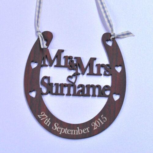 Personalised Mr /& Mrs Wedding Horseshoe Wooden Anniversary Rustic Bridal Gifts