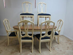 ethan allen country french carved dining room table 6