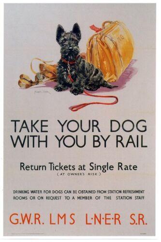 087 Vintage Arte Cartel De Ferrocarril-llevar a su perro con usted