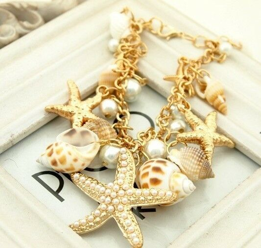 Fashion Ocean Starfish Sea Star Conch Shell Pearl Chain Beach Trendy Bracelet