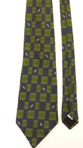 """NEW! LAGERFELD HOMME 100% SILK BLUE GREEN TIE 59"""" LONG 4"""" WIDE MADE IN ITALY"""