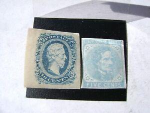 2 Lot CSA#6 1862 5c LIGHT BLUE CONFEDERATE STATES + 10c SCOTT#11 Jefferson Davis