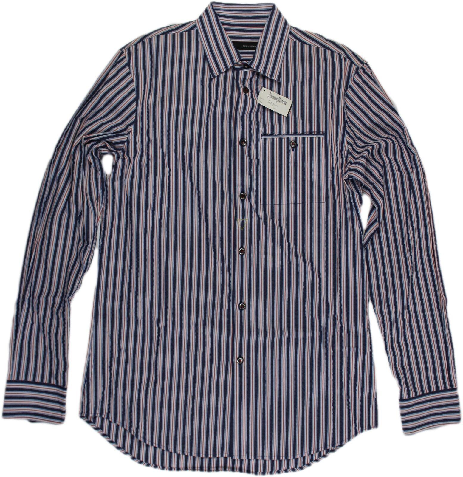 D SQUArot rot, Weiß & Blau STRIPED herren hemd-Größe 48 38US-ITALY Retail   545