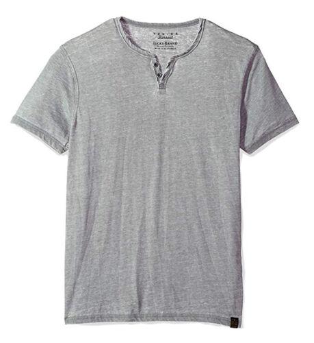 NWT$29 Gray Short Sleeve Venice Burnout Notch Henley Tee Lucky Brand Men/'s XXL