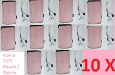 10 (Ten) x Genuine Nokia 7373 / 7360 Pink Cloth Pouch & Dangle Charm Used/Opened
