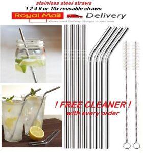 Metal-Pailles-en-acier-inoxydable-boissons-Paille-Cleaner-Party-Reutilisable-Bar