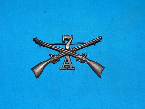Indian Wars - Span Am Hat Cap Kepi Badge PB, Infantry 7th A (#82)