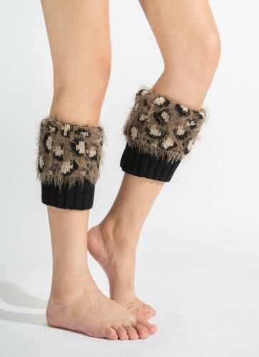 Animal Imprimé Femme Jambières Fausse Fourrure Hiver Leggings Noël Tricoté Socks