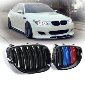 For-2003-2010-BMW-E60-E61-5-Series-Gloss-Black-M-Color-Front-Kidney-Grill-Grille