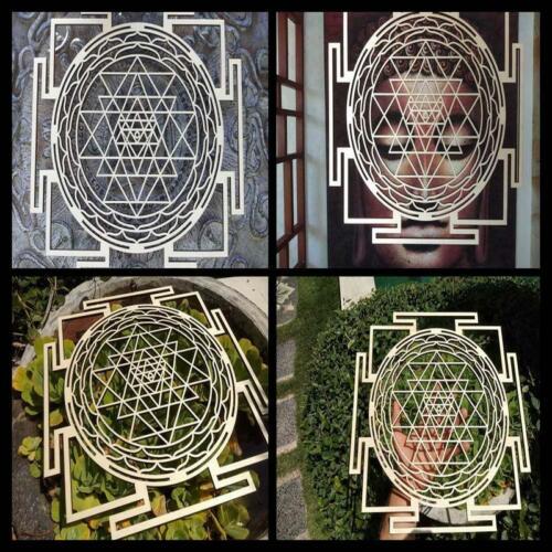 "Wall Art Sacred Geometry Hindu Sri Yantra 13.5"" Wooden Mandala Decor Yoga NEW"