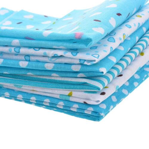 7Stk Baumwolle Tuch Stoff Baumwolle Floral DIY-Nähen Blau Patchwork Stoffpaket