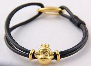 Wholesale-1pcs-leather-rope-Shambhala-golden-lobster-clasp-bracelet-gold-monkey