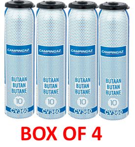 Box of 4 campingaz CV360 resealable throw away butane gas cartridges