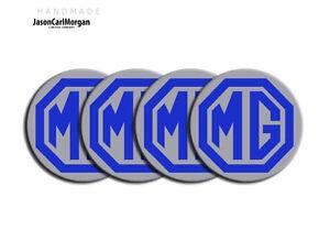 Mg ZR Aleación Centro De Rueda Logo Caps coche insignias Azul Plata 45mm Tapacubos 4 Pack